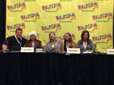 At one of the panels. From left to right, authors Scott Eder, Tracy Akers, K.L. Nappier, Maria DiVivo and yours truly.