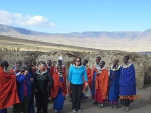 Massai dance women and I